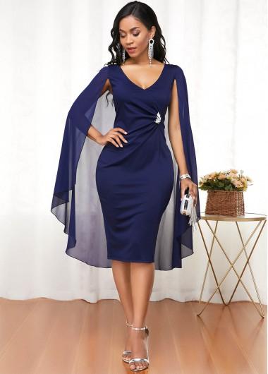 Cape Shoulder V Neck Navy Blue Dress - L
