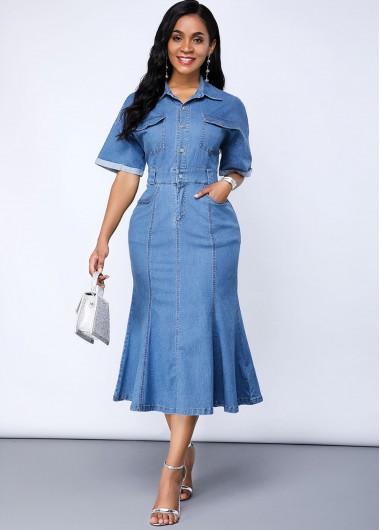 Cutout Back Button Up Pocket Denim Dress - L