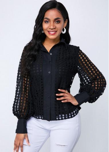 Lantern Sleeve Button Up Lace Blouse - L