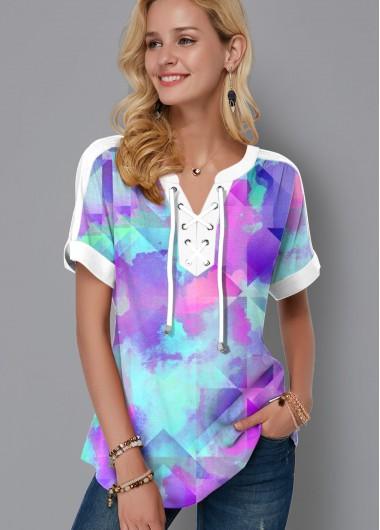 Tie Dye Print Lace Up Short Sleeve Blouse - L