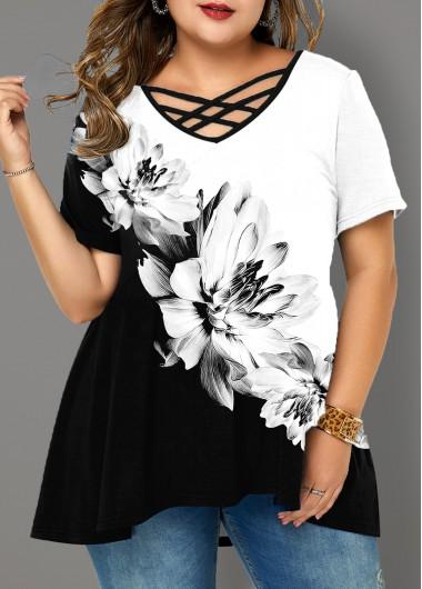 Plus Size Floral Print Cross Strap T Shirt - 1X