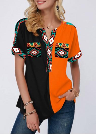 Tribal Print Color Block Short Sleeve Blouse - L