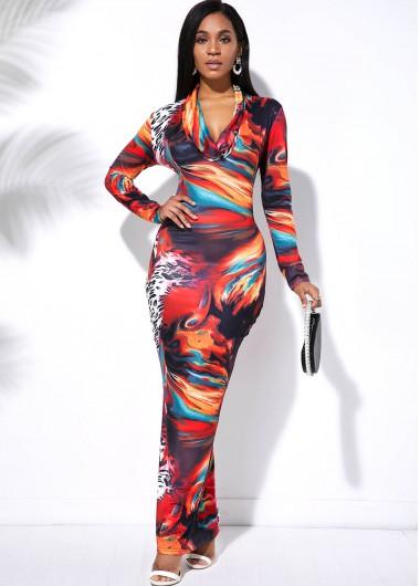 Modlily Long Sleeve Tie Dye Multi Color Maxi Dress - M