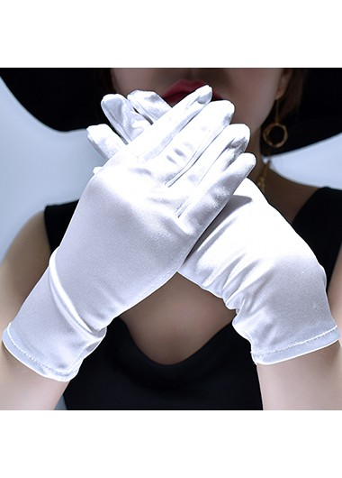 1 Pair 23cm White Shining Gloves - One Size
