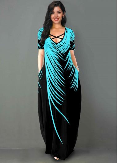 Palm Leaf Print Side Pocket Short Sleeve Maxi Dress - L