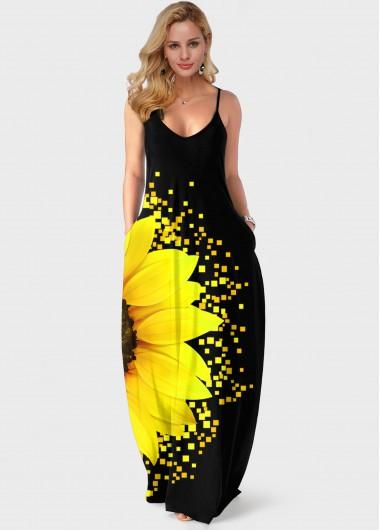 Modlily Sunflower Print Spaghetti Strap Side Pocket Maxi Dress - L
