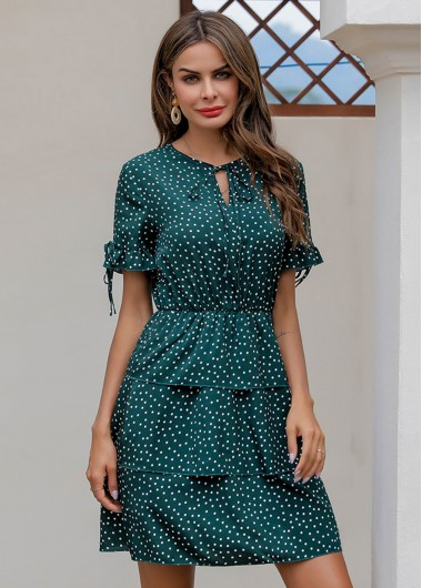 Polka Dot Keyhole Neckline Tiered Dress - L