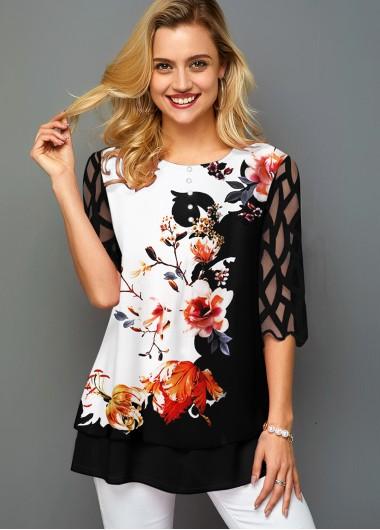 Floral Print Mesh Panel Round Neck T Shirt - L