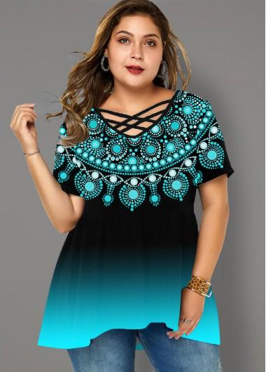 Plus Size Gradient Tribal Print T Shirt - 1X