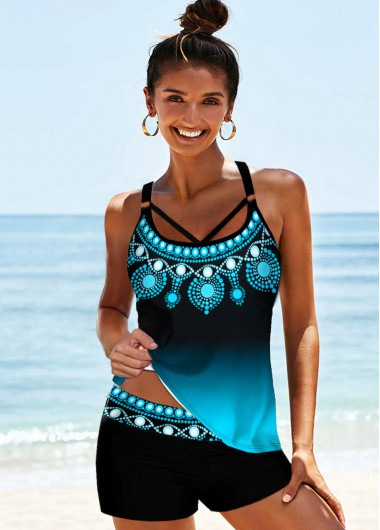 Tribal Print Strappy Back Tankini Set - L