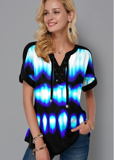 Tie Dye Lace Up Short Sleeve Blouse - L