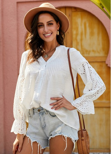 Flare Cuff Button Up Pierced Blouse - M