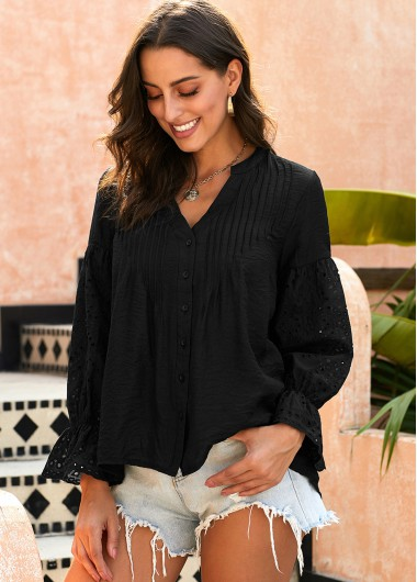 Flare Cuff Pierced Button Up Blouse - M