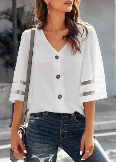 V Neck Button Up Flare Sleeve Blouse - S