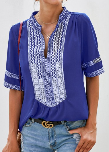 Tribal Print Split Neck Half Sleeve Blouse - S