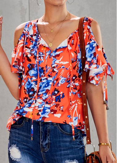 Frill Cold Shoulder Tie Sleeve Floral Print Blouse - S