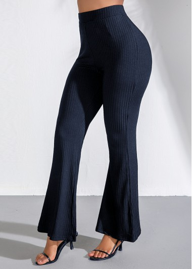 High Waist Navy Blue Flare Pants - L