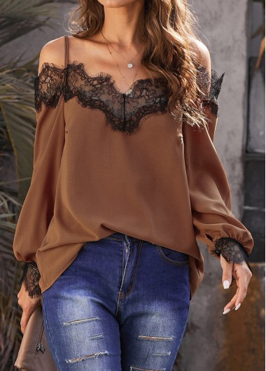 Lace Panel Strappy Cold Shoulder Lantern Sleeve Blouse - M