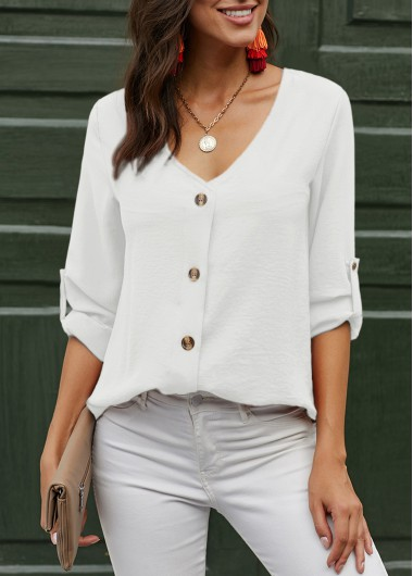 V Neck Button Up Roll Tab Sleeve Blouse - M
