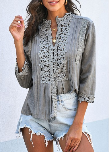 Lace Panel Crinkle Chest Three Quarter Sleeve T Shirt - L