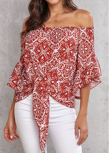Printed Off the Shoulder Knotted Hem Blouse - M