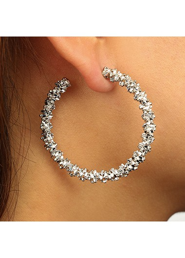 Circle Shape Silver Metal Earring Set - One Size