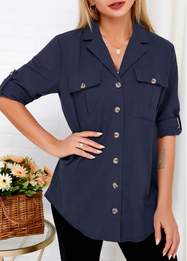 Button Up Notch Collar Roll Tab Sleeve Blouse - M