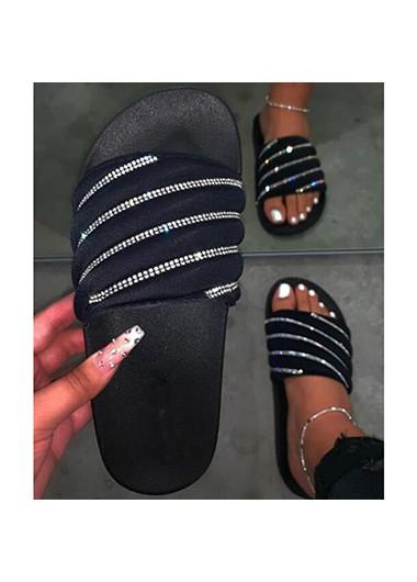 Flip Flops Rhinestone Embellished Black Slippers for Women - 36