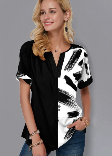 Printed Split Neck Short Sleeve Blouse - M
