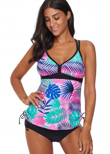Tropical Print Racerback Tie Side Tankini Set - L