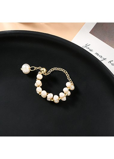 Pearl Embellished Gold Metal Ring for Women - One Size