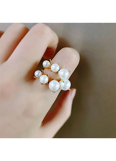 White Pearl Half Circle Ring for Women - One Size