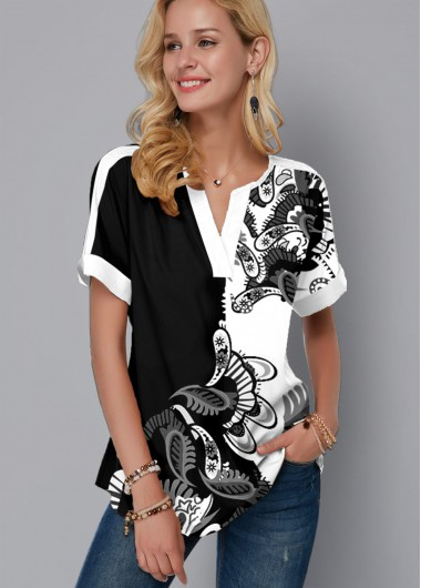 Paisley Print Split Neck Short Sleeve Blouse - M