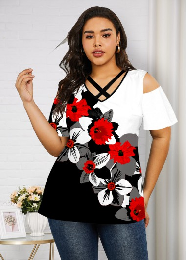 Plus Size Cold Shoulder Floral Print T Shirt - 1X