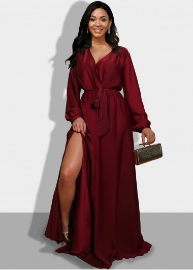 Side Slit Long Sleeve Wine Red Maxi Dress - L