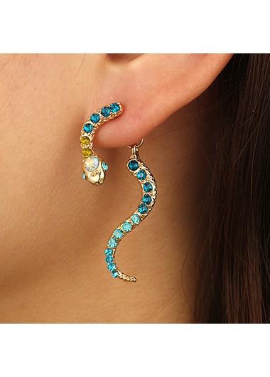 Snake Shape Rainbow Rhinestone Metal Earring Set - One Size