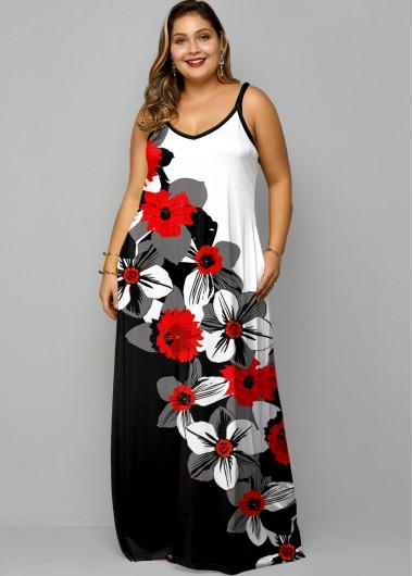 Plus Size Floral Print Spaghetti Strap Maxi Dress - 1X