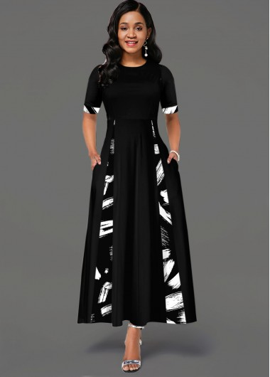 Printed Round Neck Short Sleeve Pocket Dress - L