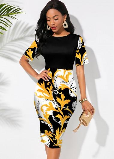 Floral Print Round Neck Short Sleeve Dress - L