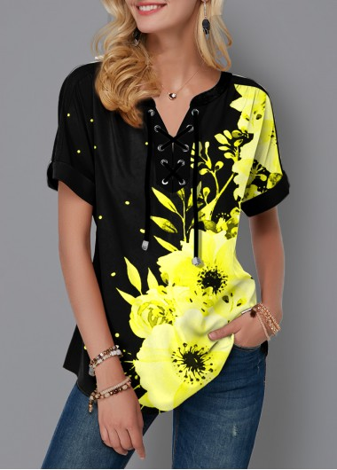 Floral Print Lace Up Short Sleeve Blouse - S