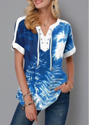 Tie Dye Tropical Print Lace Up Blouse - L