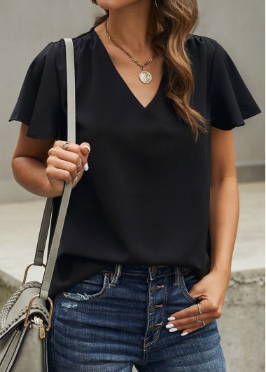 V Neck Black Short Sleeve Blouse - M