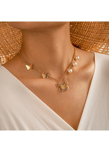 Pearl Detail Gold Metal Butterfly Pendant Necklace - One Size