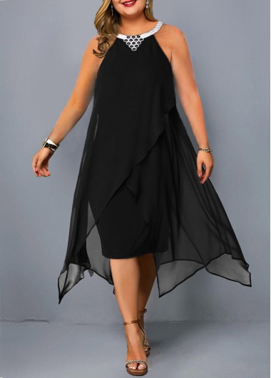 Plus Size Asymmetric Hem Embellished Neck Chiffon Dress - 1X
