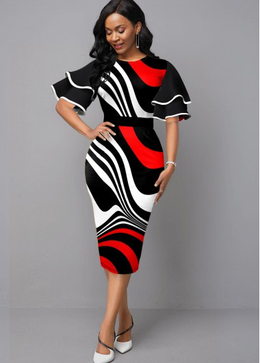 Contrast Ruffle Sleeve Stripe Print Sheath Dress - L
