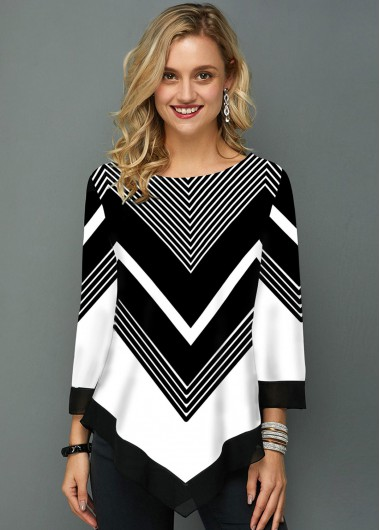 Asymmetric Hem Chevron Print Three Quarter Sleeve T Shirt - L