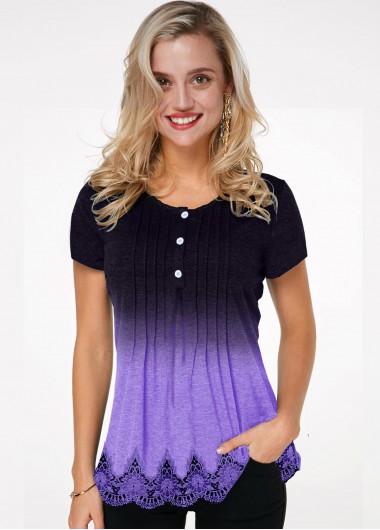 Round Neck Crinkle Chest Lace Hem Ombre T Shirt - L