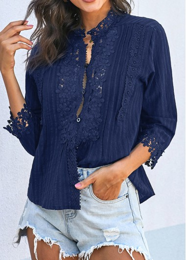 Lace Panel Crinkle Chest Button Up Blouse - L
