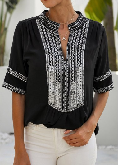 Tribal Print Split Neck Half Sleeve Blouse - M