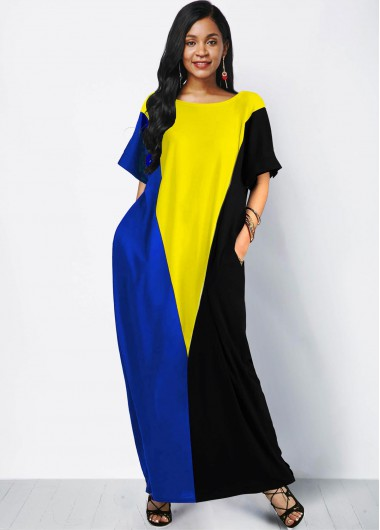 Side Pocket Color Block Short Sleeve Maxi Dress - L